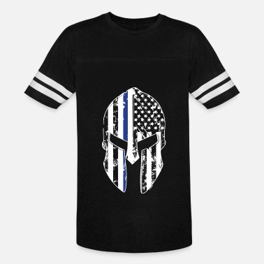 Chicago Against The World Thin Blue Line Spartan Mask American Flag Cops Pol - Unisex Vintage Sport T-Shirt