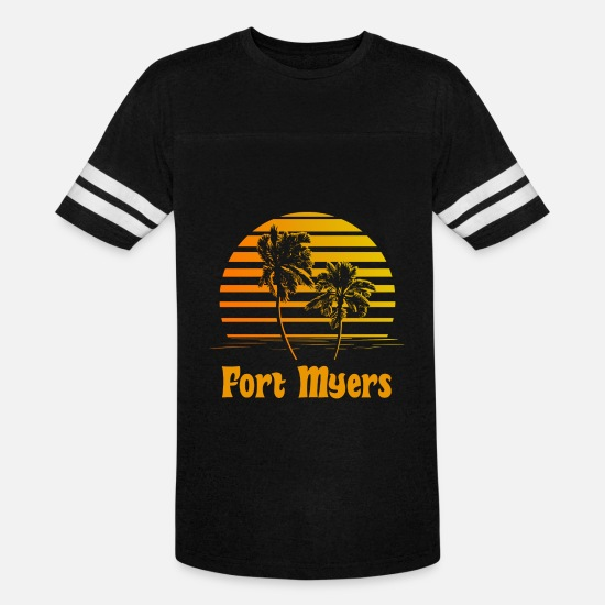Beach T-Shirts - Fort Myers Florida Sunset Palm Trees - Unisex Vintage Sport T-Shirt black/white