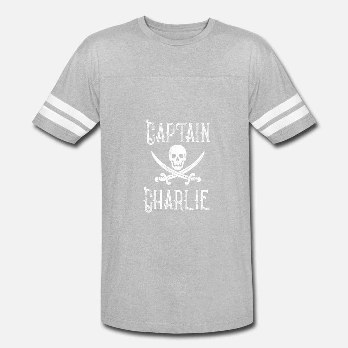 Personalized Pirate Shirt Vintage Pirates Shirt Personal Name Pirate TShirt  Captain Charlie Vintage Sport T-Shirt - heather gray/white
