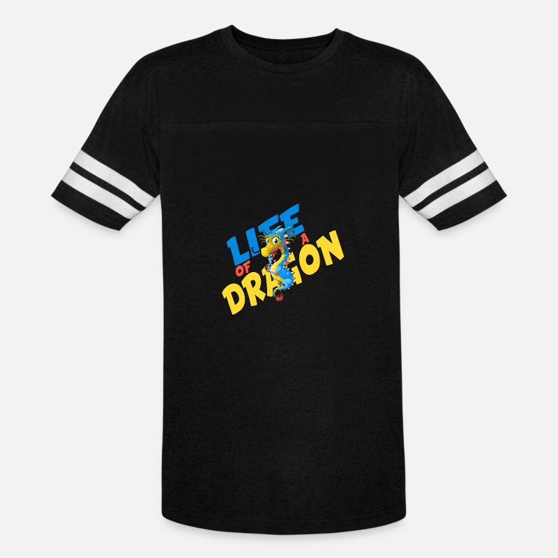 Gift for Dragon Addict Saying Funny Cool Dragons Vintage Sport T-Shirt -  black/white