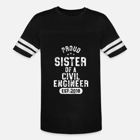 Graduation T-Shirts - Proud Sister Of Civil Engineer Shirt 2018 Graduate Senior - Unisex Vintage Sport T-Shirt black/white