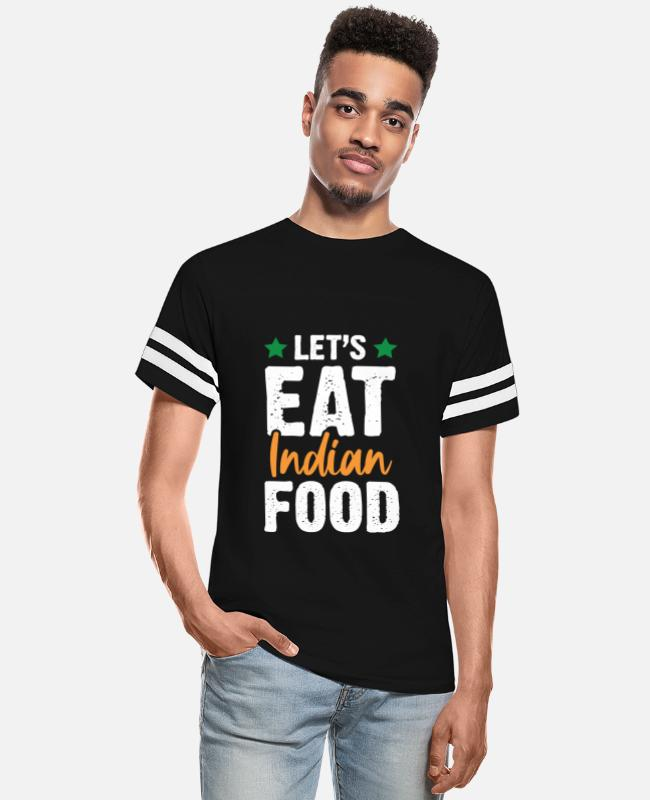New Delhi T-Shirts - India Eat Indian Food - Unisex Vintage Sport T-Shirt black/white