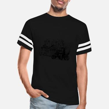 Old Town Art, biker in old town - Unisex Vintage Sport T-Shirt