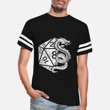 Critical Dragon Poly Dice - D20 Dungeon Dice RPG - Unisex Vintage Sport T-Shirt
