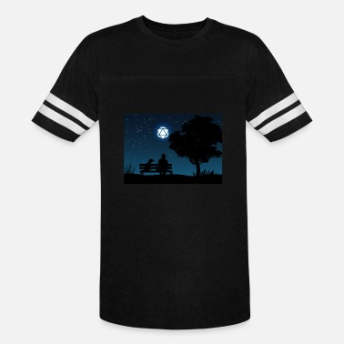 Man with Dog D20 Dice Moon Night Tabletop RPG - Unisex Vintage Sport T-Shirt