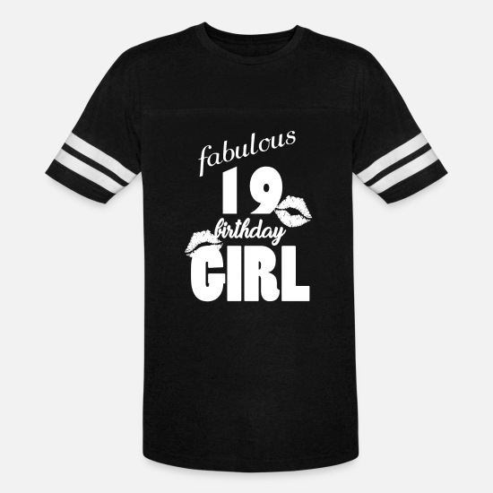 Birthday T-Shirts - fabulous 19 birthday girl 19th birthday pink Kiss - Unisex Vintage Sport T-Shirt black/white