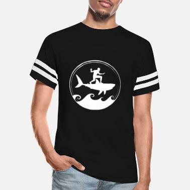 Deep Sea Funny Surfer With Shark - Unisex Vintage Sport T-Shirt