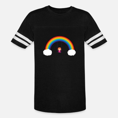 Swinging Rainbow Girl On Swing - Unisex Vintage Sport T-Shirt
