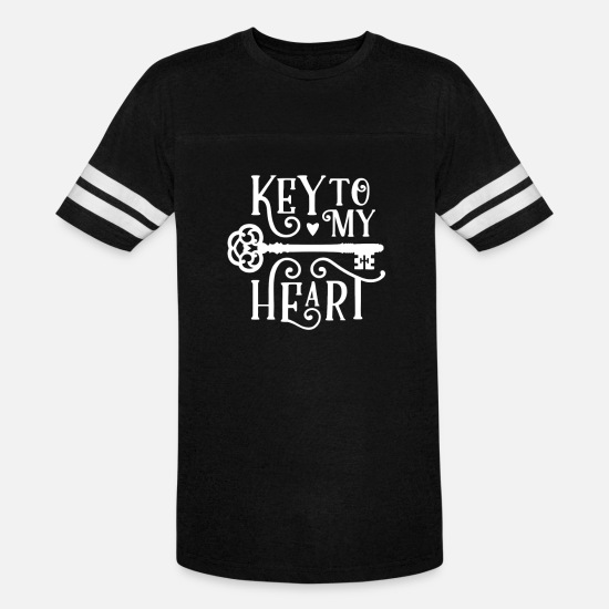 Heart T-Shirts - Key To My Heart - Unisex Vintage Sport T-Shirt black/white