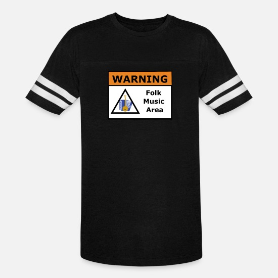 Music T-Shirts - Warning Folk Music Area - Unisex Vintage Sport T-Shirt black/white