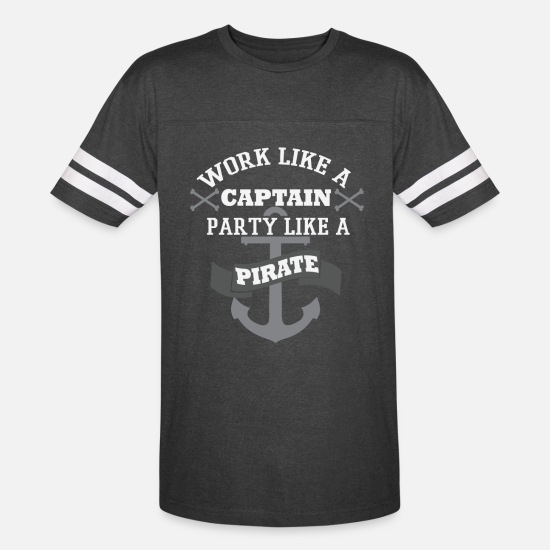 Pirate T-Shirts - Pirate - Work like a captain party like a pirate - Unisex Vintage Sport T-Shirt vintage smoke/white