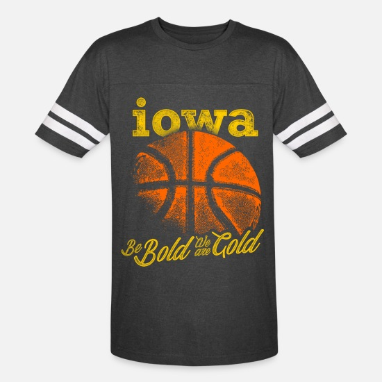 Iowa T-Shirts - iowa basketball lover be bold we are gold - Unisex Vintage Sport T-Shirt vintage smoke/white