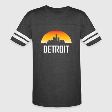Detroit Michigan Sunset Skyline - Vintage Sport T-Shirt