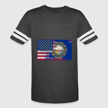 New Hampshire American Flag - Vintage Sport T-Shirt