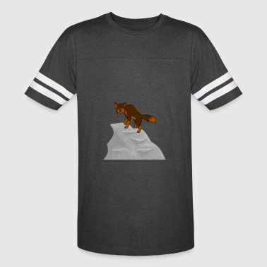 Wolf looking down on Boulder - Vintage Sport T-Shirt