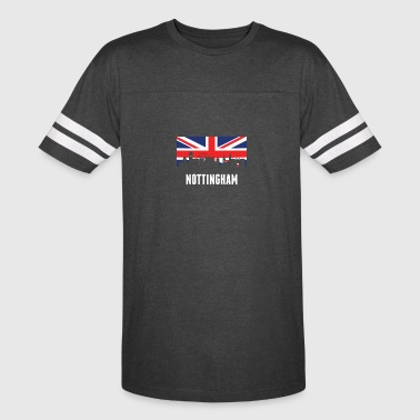British Flag Nottingham Skyline - Vintage Sport T-Shirt
