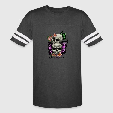 BUTTERFLY SKULLS WITH PLUMERIA - Vintage Sport T-Shirt