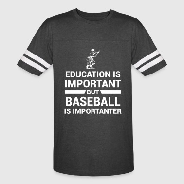 Education Important But Baseball Importanter - Vintage Sport T-Shirt