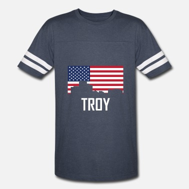 Troy Mi Troy Michigan Skyline American Flag - Vintage Sport T-Shirt