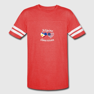 Filipino American Flag Hearts - Vintage Sport T-Shirt