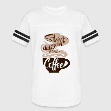 T-shirt start the day with coffee - Vintage Sport T-Shirt