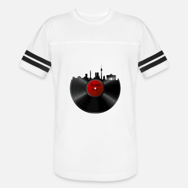 Old School Djs Techno Berlin Vinyl - DJ Retro Techno Music Skyline Gift - Vintage Sport T-Shirt