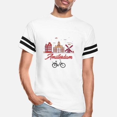 Capital Amsterdam Netherlands-Holland Dutch Bicycle Europe - Unisex Vintage Sport T-Shirt