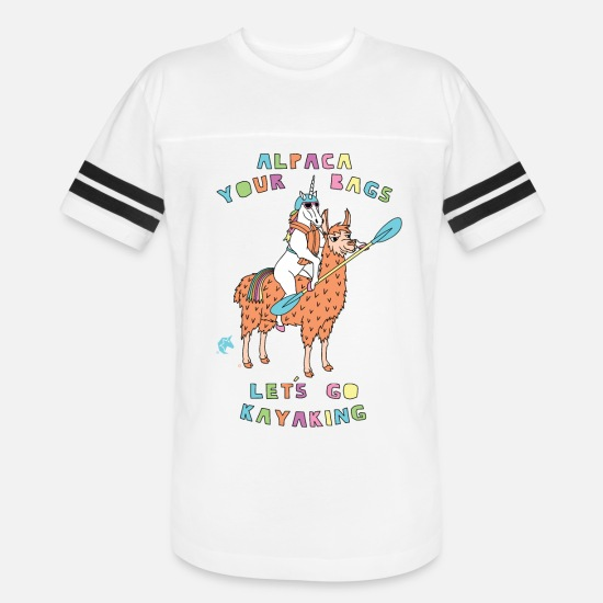 Kayaking T-Shirts - Alpaca Your Bags Let s Go Kayaking Unicorn - Unisex Vintage Sport T-Shirt white/black