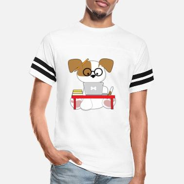 Laptop cute puppy and laptop - Unisex Vintage Sport T-Shirt