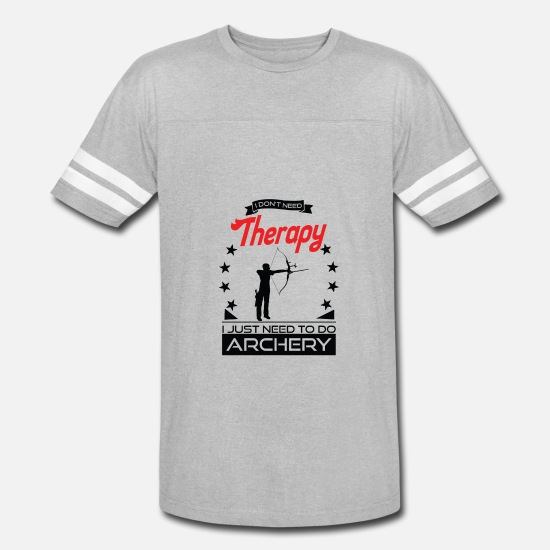 Archer T-Shirts - Archery - Better than therapy - archer gift - Unisex Vintage Sport T-Shirt heather gray/white