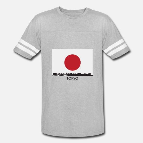 af10563b125517 Japanese T-Shirts - Tokyo Japan Skyline Japanese Flag - Unisex Vintage Sport  T-