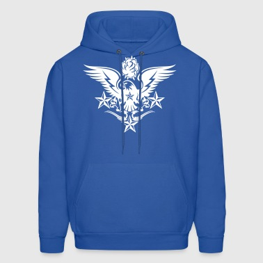 Eagle,Rose,and Nautical Star Lightning Tattoo - Men's Hoodie