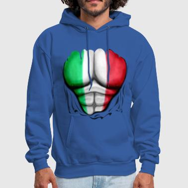 Pizza Italy Flag Ripped Muscles, six pack, chest t-shirt - Men's Hoodie