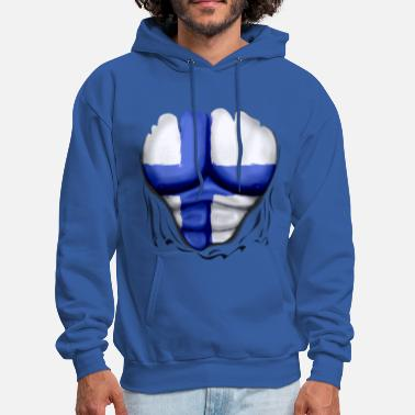 Six Pack Finland Flag Ripped Muscles, six pack, chest t-shirt - Men's Hoodie