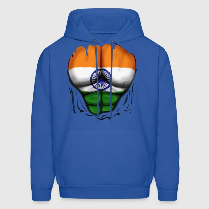 India Flag Ripped Muscles, six pack, chest t-shirt - Men's Hoodie