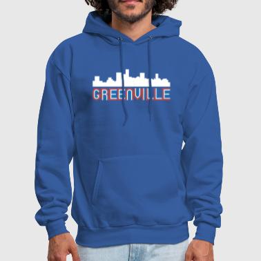 Red White Blue Greenville South Carolina Skyline - Men's Hoodie