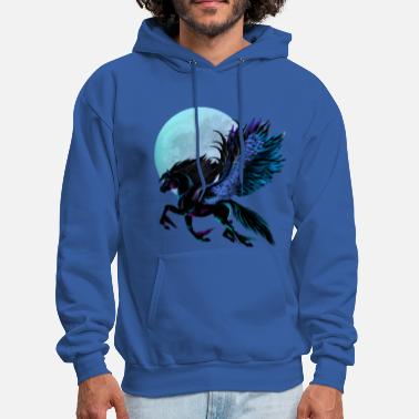 Pegasus Black Pegasus and Blue Moon - Men's Hoodie