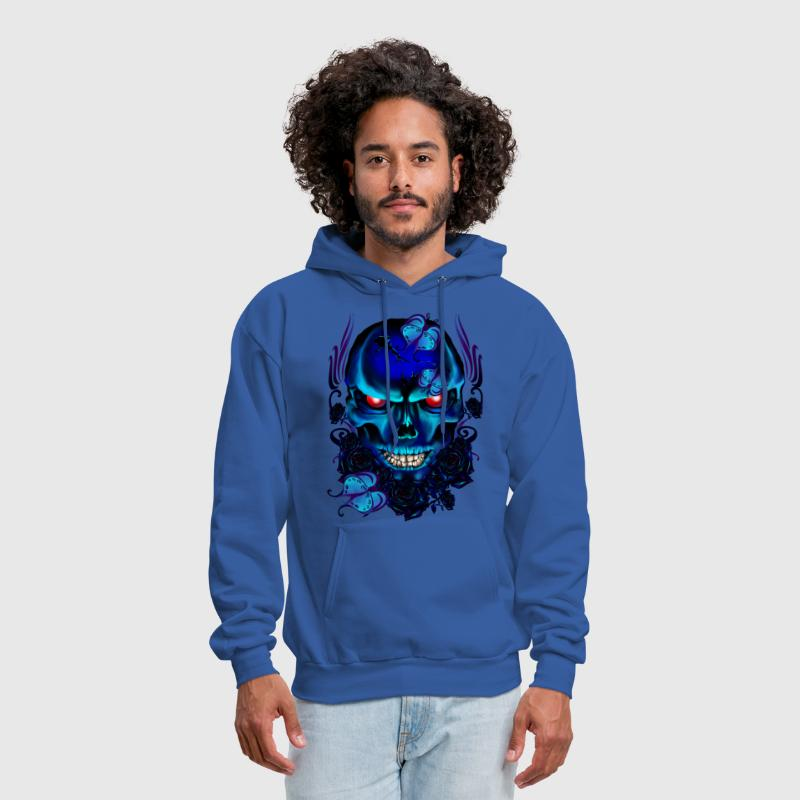 Butterflies and Roses Black Skull - Men's Hoodie