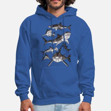 Great White Shark Geometric Sharks - Men's Hoodie