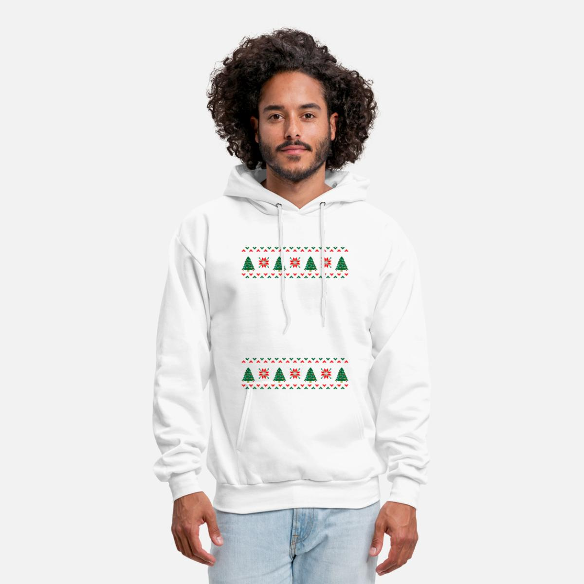 Swimming Ugly Christmas Sweater Men\'s Hoodie - white