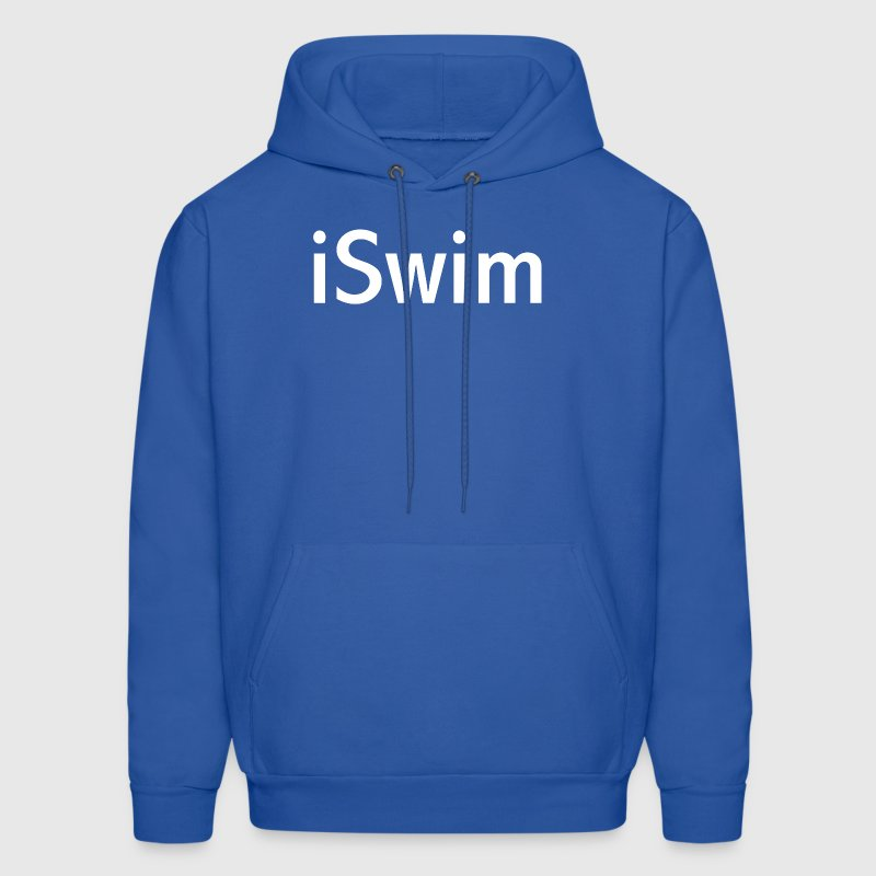 iSwim - in white, great design for colored shirts, shorts, bags and other items. - Men's Hoodie