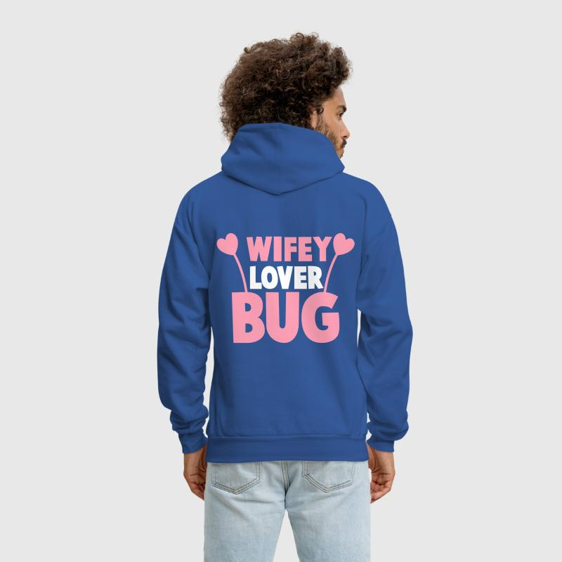 wifey wife lover love bug with cute antennae - Men's Hoodie