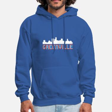 Red White And Blue Red White Blue Greenville South Carolina Skyline - Men's Hoodie