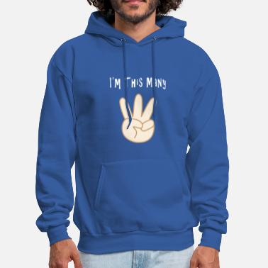 Little Funny 3rd Birthday I'm This Many Years Third Bday - Men's Hoodie