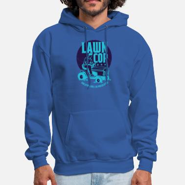 Cop Lawn Cop Lawn Mower Grass Cutting Landscaper Blue - Men's Hoodie