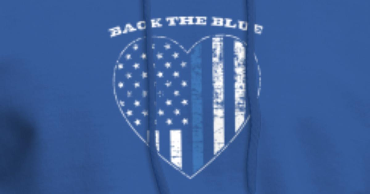 5c3fdfb5 Back the Blue Heart Thin Blue Line American Flag Men's Hoodie | Spreadshirt
