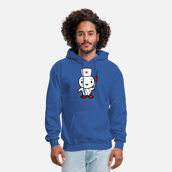 Heartbeat Hoodies & Sweatshirts - chicken chick bird syringe cute stethoscope listen - Men's Hoodie royal blue