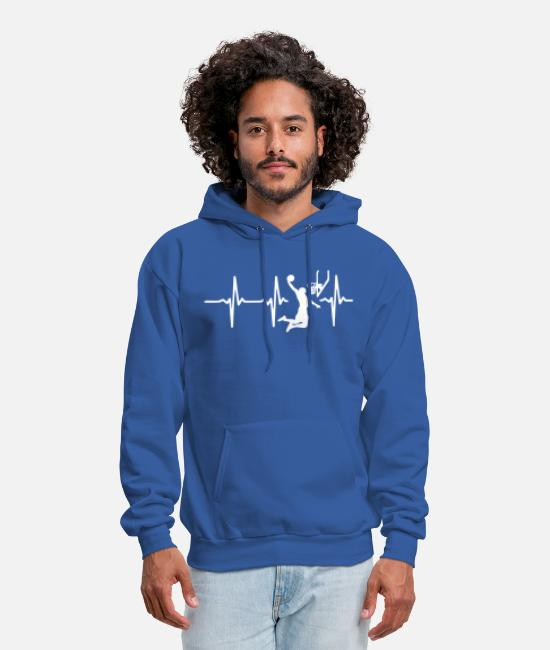 Basketball Player Hoodies & Sweatshirts - Basketball Heartbeat - Men's Hoodie royal blue
