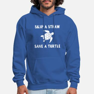 Skip A Straw Save A Turtle White - Men's Hoodie