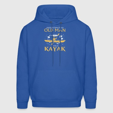Never Underestimate An Old Man With A Kayak - Men's Hoodie